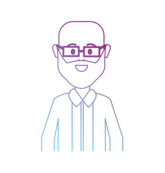 Line man bald with glasses and beard vector
