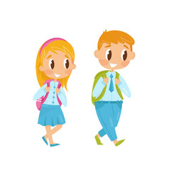 Little boy and girl walking on study first school vector