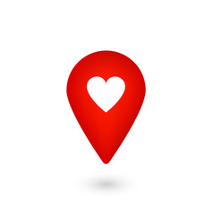 location icon with heart red pointer with like vector image