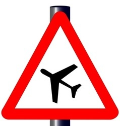 Low Flying Aircraft Traffic Sign vector image