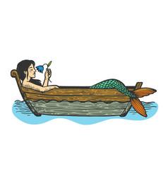 mermaid in boat sketch vector image