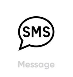 message social icon editable line vector image