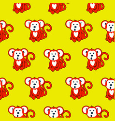 monkey red and yellow seamless pattern vector image