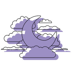 moon and clouds in night landscape purple vector image