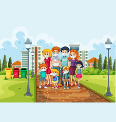 Nature scene with family wearing mask for prevent vector