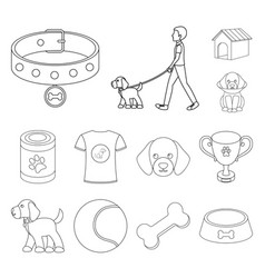 pet dog outline icons in set collection for design vector image