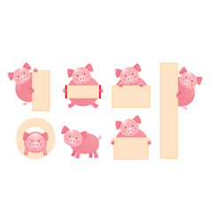 pig cartoon character holding sign set vector image