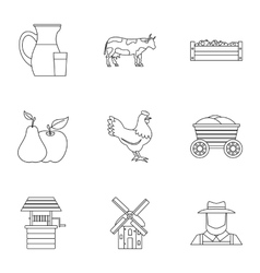 Ranch icons set outline style vector