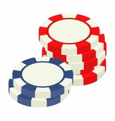 Red and bue casino tokens isometric 3d icon vector image