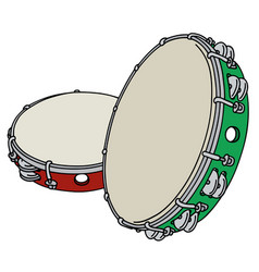Red and green tambourines vector