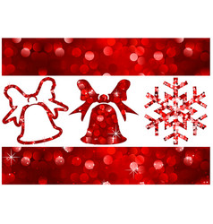 red christmas glitter banners and design elements vector image