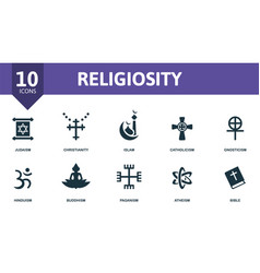 Religiosity icon set contains editable icons vector