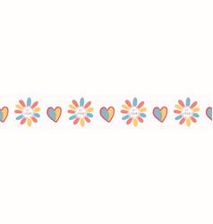 Romantic rainbow i love you daisy flower hand vector
