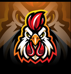 Rooster head esport mascot logo design vector