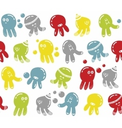 Seamless colorful pattern with cute sea animals vector image