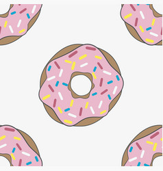 seamless pattern donut with pink glaze vector image