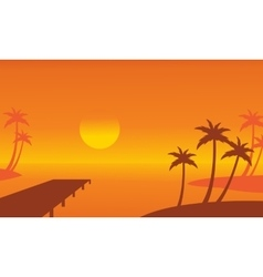 Seaside palm and pier scenery silhouettes vector