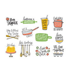 set of phrases handwritten with cursive font vector image
