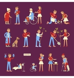 Set of volunteers characters vector