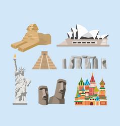 Set traditional sculpture and travel vacacion vector
