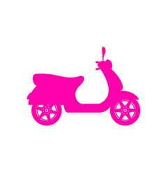 Silhouette of scooter in pink design vector