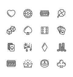 simple icon set casino gambling and card games vector image