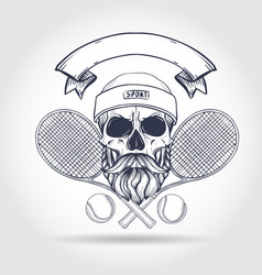 Skull with tennis racquets vector