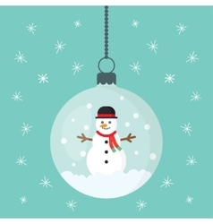 snowman inside Christmas decorations vector image