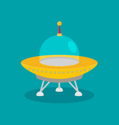 Spaceship flat isolated on color background vector