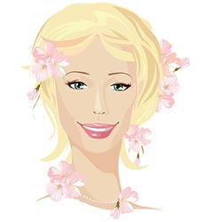 spring beautiful woman portrait vector image