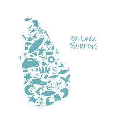 sri lanka surfind design made from surf icons vector image vector image