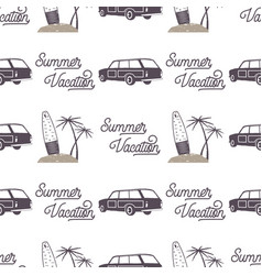 surfing old style car pattern design summer vector image