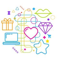 Symbols of choosing a gift via the Internet on vector