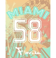 T-shirt print with numbers fun fair and palm trees vector image