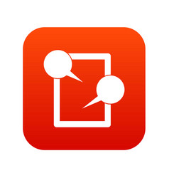 tablet chatting icon digital red vector image