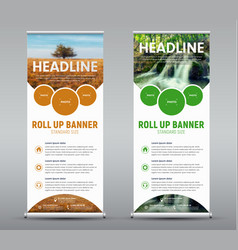 Template vertical roll up banner with round and vector