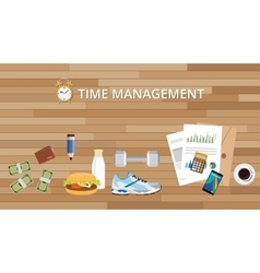 time management with health life food alarm clock vector image