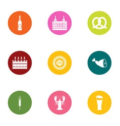 tourist food icons set flat style vector image