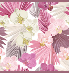 tropical orchid seamless background jungle vector image