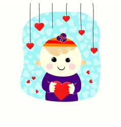 Valentine boy with heart vector image
