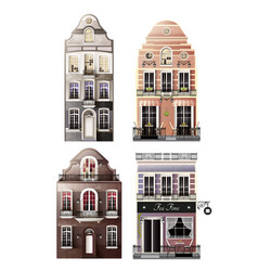 Variations of old european facade houses vector