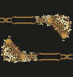 vintage gold frame decorative floral pattern vector image