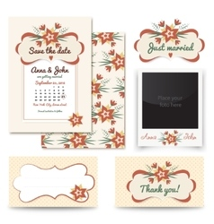 Vintage wedding invitation design sets include vector