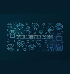 Volunteering blue horizontal banner in vector
