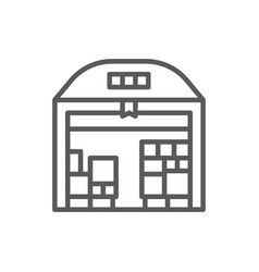 warehouse with parcels line icon vector image