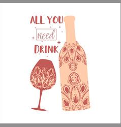 Wine bottle and glass angela vector