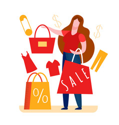 Woman paying for tote in shop vector