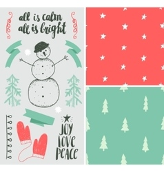 year set hand drawn winter vector image