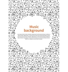 Background with music signs and text template vector image vector image