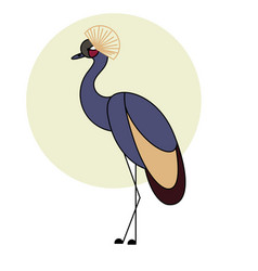 crowned crane isolated bird on white background vector image